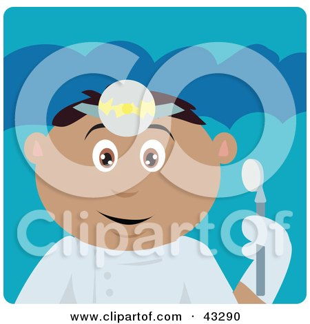 Clipart Illustration of a Hispanic Dentist Man Holding A Mouth Mirror by Dennis Holmes Designs