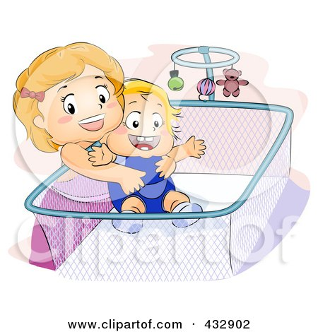 Royalty-Free (RF) Clipart Illustration of a Little Girl Lifting Her Baby Brother From A Crib by BNP Design Studio
