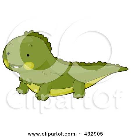Royalty-Free (RF) Clipart Illustration of a Cute Baby Iguana by BNP Design Studio