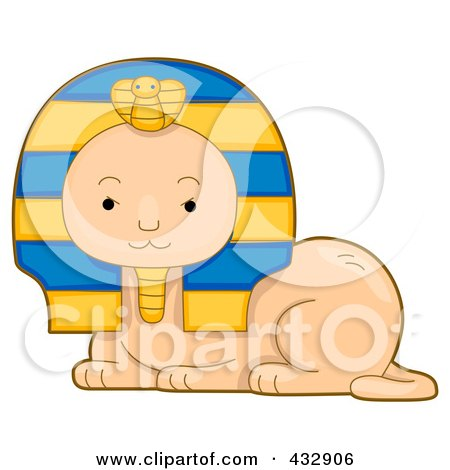 Royalty-Free (RF) Clipart Illustration of a Cute Egypytian Sphynx by BNP Design Studio