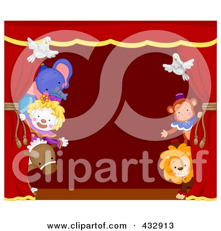 Royalty-Free (RF) Clipart Illustration of Circus Animals Peeking Around A Red Stage Curtain by BNP Design Studio