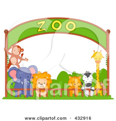 Coloring Pages on Royalty Free  Rf  Clipart Illustration Of Zoo Animals Under A Banner