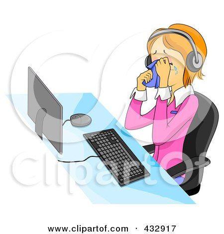 Royalty-Free (RF) Clipart Illustration of an Upset Customer Service Representative Crying While Sitting At A Computer And Wearing A Headset by BNP Design Studio