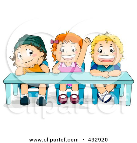Royalty-Free (RF) Clipart Illustration of a Little Girl Raising Her Hand And Sitting By Two Boys In Class by BNP Design Studio