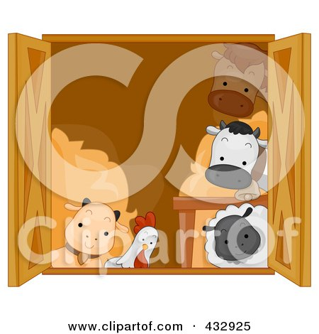 Royalty-Free (RF) Clipart Illustration of a Group Of Animals Looking Out Of A Barn Window by BNP Design Studio