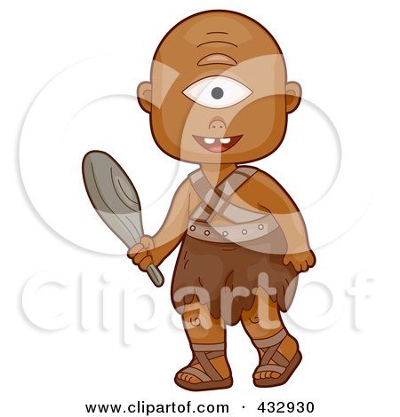 Royalty-Free (RF) Clipart Illustration of a Cyclops Boy Carrying A Club by BNP Design Studio