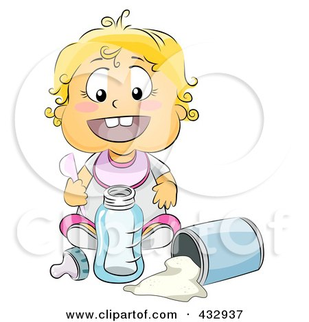 Royalty-Free (RF) Clipart Illustration of a Baby Girl Mixing Baby Formula by BNP Design Studio