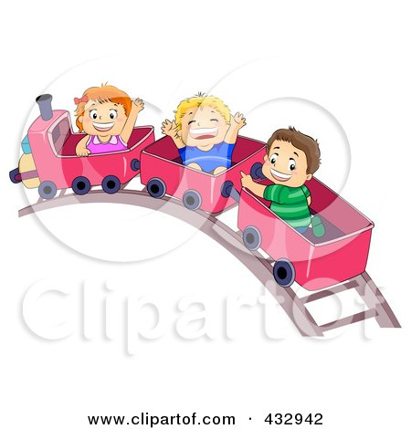 Royalty-Free (RF) Clipart Illustration of a Girl And Two Boys On A Train Ride by BNP Design Studio