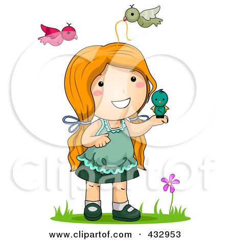 Royalty-Free (RF) Clipart Illustration of a Girl Playing With Birds Outside by BNP Design Studio