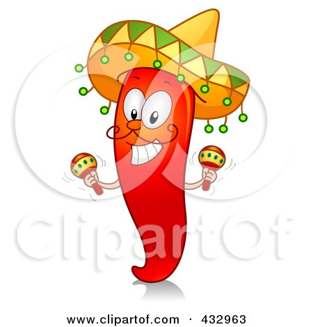 Royalty-Free (RF) Clipart Illustration of a Red Hot Chili Pepper Character Shaking Maracas by BNP Design Studio
