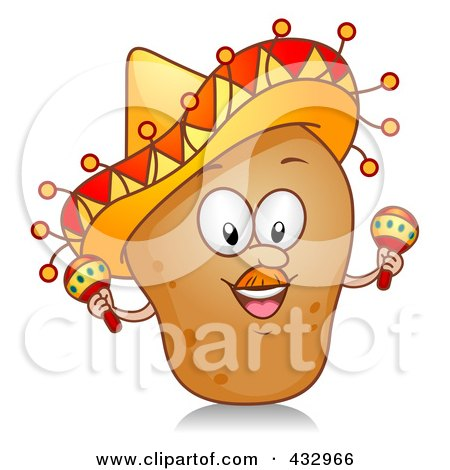 Royalty-Free (RF) Clipart Illustration of a Potato Character Wearing A Sombrero And Shaking Maracas by BNP Design Studio