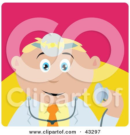 Clipart Illustration of a Caucasian Doctor Man Holding A Stethoscope by Dennis Holmes Designs