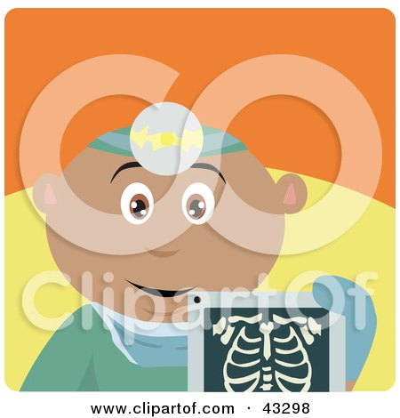 Clipart Illustration of a Hispanic Radiologist Man Holding An Xray by Dennis Holmes Designs
