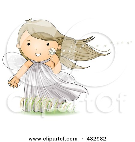 Royalty-Free (RF) Clipart Illustration of a Cute Fairy Holding A Dandelion In The Wind by BNP Design Studio