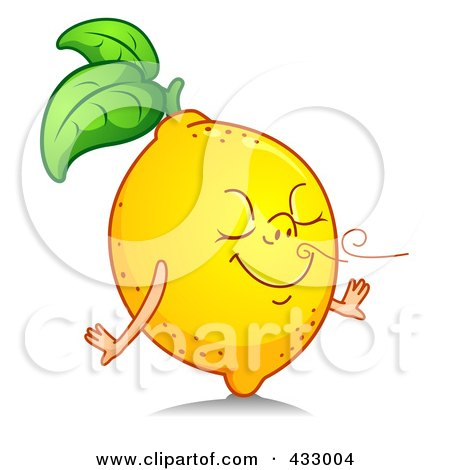 Royalty-Free (RF) Clipart Illustration of a Happy Lemon Smelling A Fresh Scent by BNP Design Studio