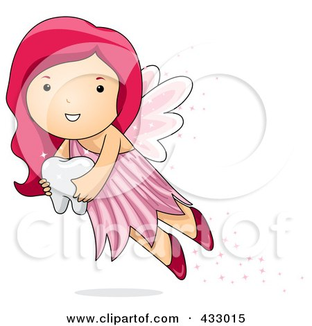 Pink Haired Tooth Fairy Carrying A Tooth Posters, Art Prints