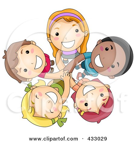 Royalty-Free (RF) Clipart Illustration of a Group Of Diverse Kids Looking Up by BNP Design Studio