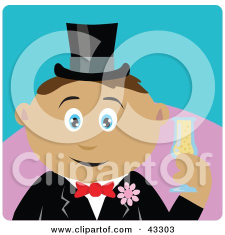 Clipart Illustration of a Latin American Groom Man Holding A Glass Of Champagne by Dennis Holmes Designs