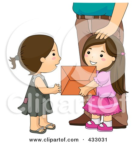 Royalty-Free (RF) Clipart Illustration of a Girl Giving A Box Of Stuff To A Needy Girl by BNP Design Studio