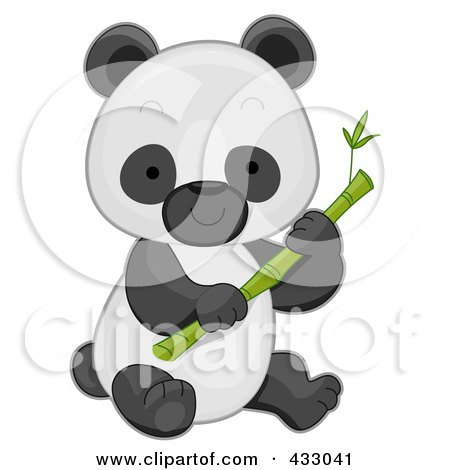 Royalty-Free (RF) Clipart Illustration of a Cute Baby Panda With Bamboo by BNP Design Studio