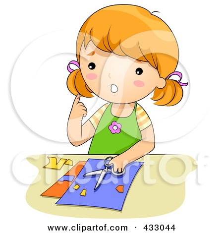 Royalty-Free (RF) Clipart Illustration of a Girl With A Cut From Scissors by BNP Design Studio