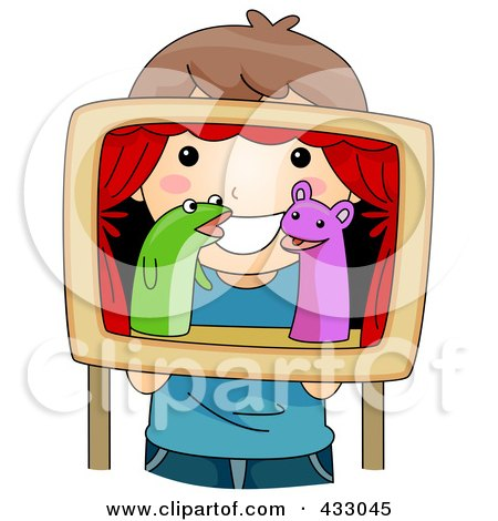 Royalty-Free (RF) Clipart Illustration of a Girl Playing With Puppets by BNP Design Studio