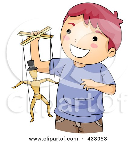 Royalty-Free (RF) Clipart Illustration of a Boy Playing With A Puppet by BNP Design Studio