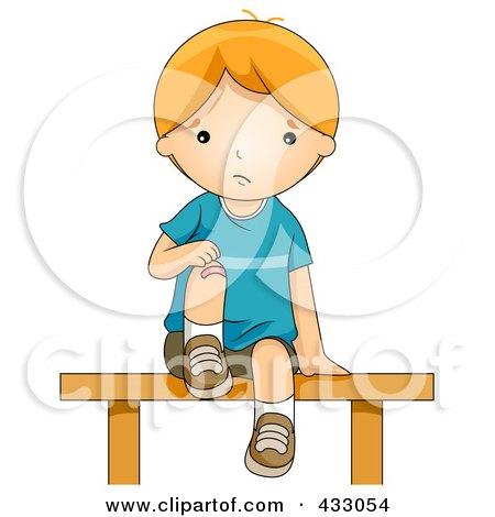 Royalty-Free (RF) Clipart Illustration of a Boy Bandaging His Hurt Knee by BNP Design Studio