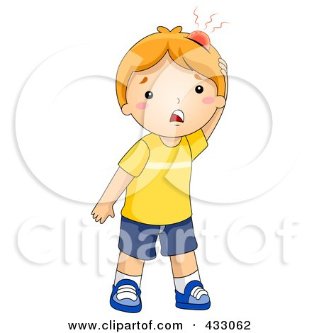Royalty-Free (RF) Clipart Illustration of a Hurt Boy With A Big Bump On His Head by BNP Design Studio