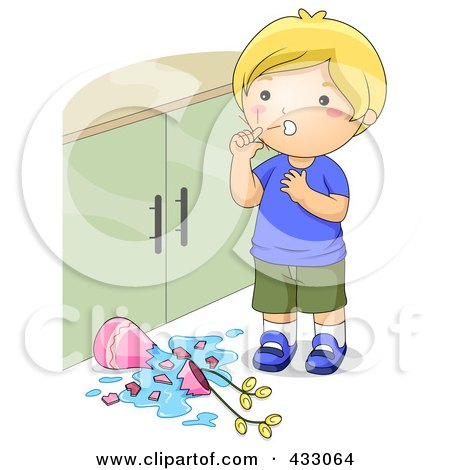 Royalty-Free (RF) Clipart Illustration of a Boy With Scratches After Knocking Over A Lamp by BNP Design Studio