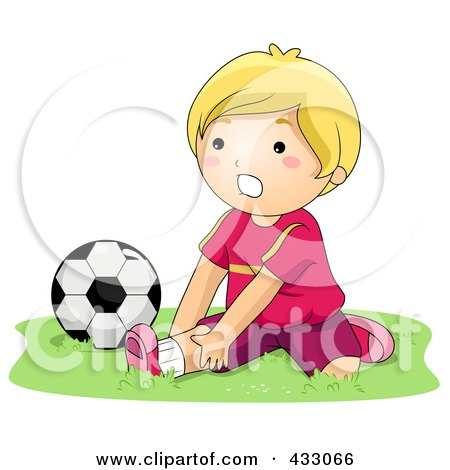 Royalty-Free (RF) Clipart Illustration of a Boy Stretching By A Soccer Ball by BNP Design Studio