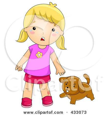 Royalty-Free (RF) Clipart Illustration of a Dog Biting A Girl by BNP Design Studio