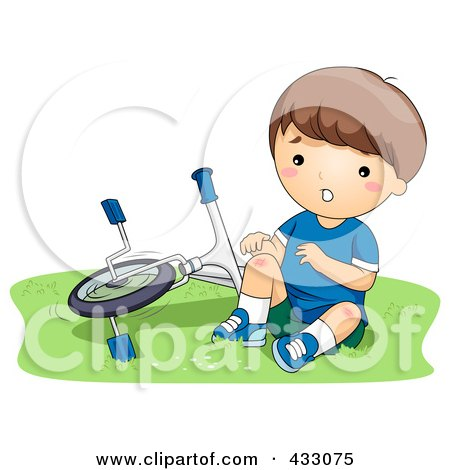 Royalty-Free (RF) Clipart Illustration of a Boy With A Hurt Knee, Sitting By A Bike by BNP Design Studio
