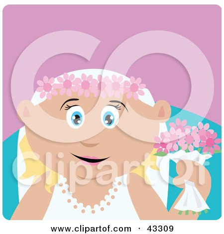 Clipart Illustration of a Caucasian Bride Woman Holding Flowers by Dennis Holmes Designs