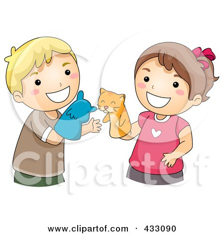Royalty-Free (RF) Clipart Illustration of a Boy And Girl Playing With Animal Puppets by BNP Design Studio