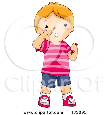 Royalty-Free (RF) Clipart Illustration of a Boy With A Pencil Stuck Up His Nose, by BNP Design Studio