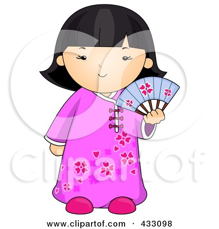 Royalty-Free (RF) Clipart Illustration of a Chinese Girl Holding A Fan by BNP Design Studio