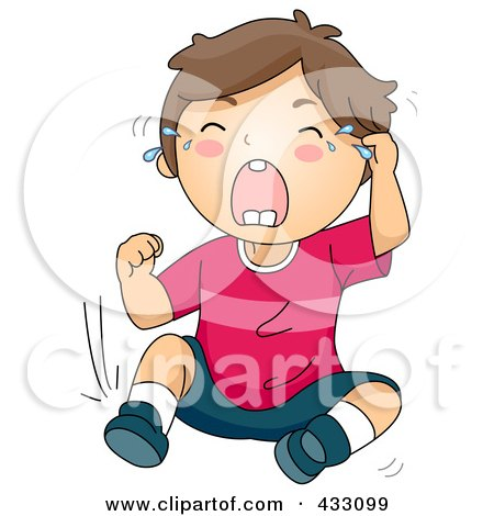 Royalty-Free (RF) Clipart Illustration of a Boy Crying And Throwing A Temper Tantrum by BNP Design Studio