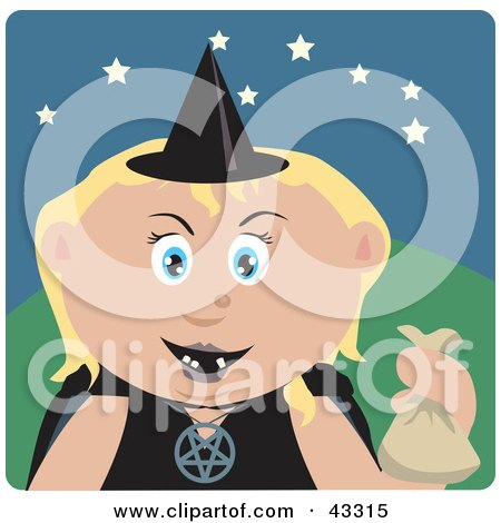 Clipart Illustration of a Caucasian Girl Trick Or Treating On Halloween In A Witch Costume by Dennis Holmes Designs