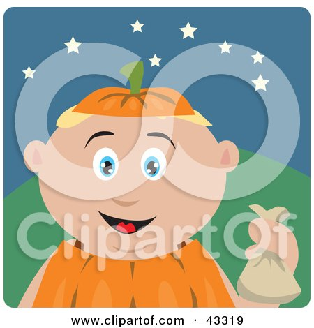 Clipart Illustration of a Caucasian Boy Trick Or Treating On Halloween In A Pumpkin Costume by Dennis Holmes Designs