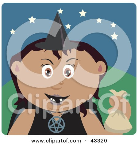 Clipart Illustration of a Latin American Girl Trick Or Treating On Halloween In A Witch Costume by Dennis Holmes Designs