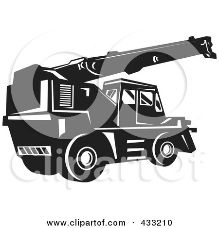 Royalty-Free (RF) Clipart Illustration of a Black And White Retro Rough Terrain Crane by patrimonio