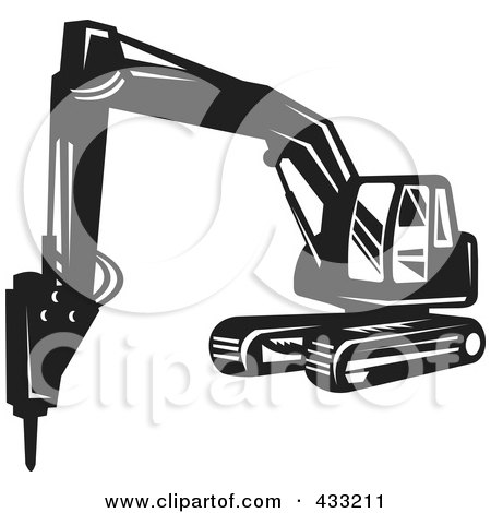 Retro Black And White Excavator Posters, Art Prints