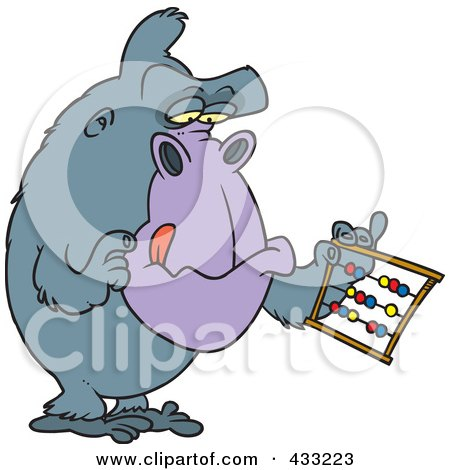 Royalty-Free (RF) Clipart Illustration of a Gorilla Using An Abacus by toonaday