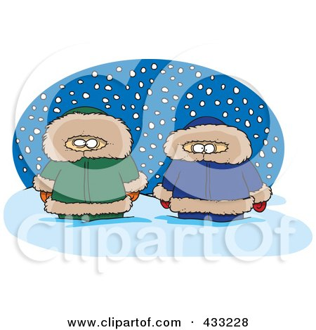 Royalty-Free (RF) Clipart Illustration Of Two Alaskans In The Snow Over A Blue Oval by toonaday