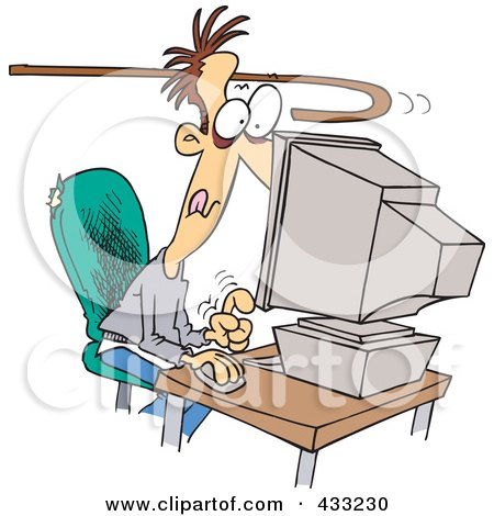 Royalty-Free (RF) Clipart Illustration Of A Cane Reaching To Pull An Addicted Caucasian Man Away From A Computer by toonaday