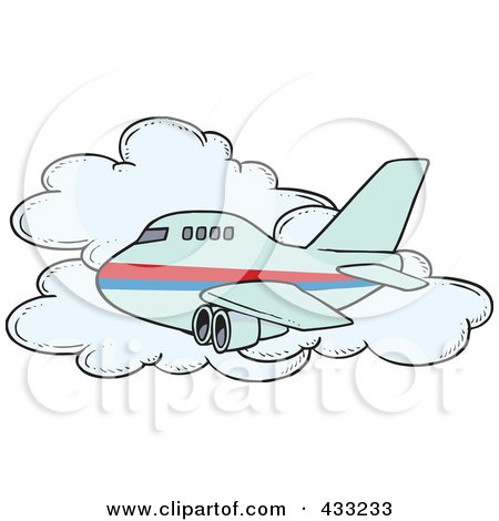 Royalty-Free (RF) Clipart Illustration of a Commercial Airliner Passing A Cloud In Flight by toonaday