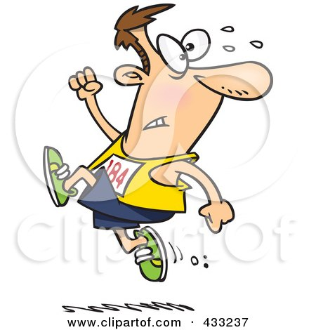 Royalty-Free (RF) Clipart Illustration Of A Runner Man Ahead Of The Crowd by toonaday