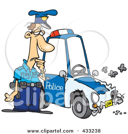 Royalty-Free (RF) Clipart Illustration of a Patrol Officer Staring At His Beat Up Car by toonaday