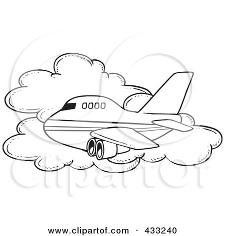 Royalty-Free (RF) Clipart Illustration of a Coloring Page Line Art Of A Commercial Airliner Passing A Cloud In Flight by toonaday